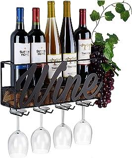 KH Wall Mounted Wine Rack - Bottle & Glass Holder Home & Kitchen Decor