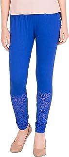 American-Elm Women's Viscose Designer Lace Legging- Red (28)