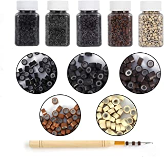 Amesun 2500PCS Silicone Micro Link Rings 5mm Lined Beads for Hair Extensions Tool 5PCS/SetMix Color (MIX COLOR)