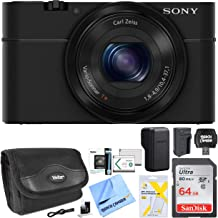 Sony Cyber-shot DSC-RX100 20.2 MP Compact Digital Camera with F1.8 Zeiss Vario-Sonnar T lens w/3.6x zoom Bundle with 64GB Memory Card Spare Battery Case LCD Screen Protectors