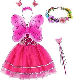 Tacobear 5 Pièces Déguisement Fée Enfant Costume Papillon avec Fée Baguette Ailes de Fée Robe Fée Bandeau Couronne Fleurs ...
