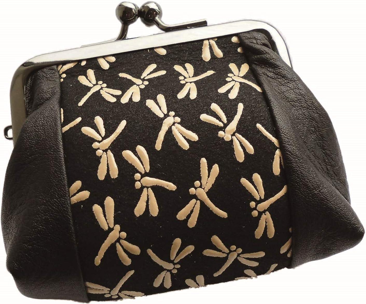 実現可能性楽しい広告する鹿革印傳本漆(トンボ柄)手平がま口財布 (ブラック×ベージュ)