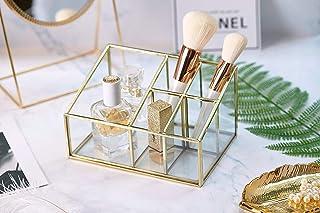 PuTwo Rangement Maquillage 5 Compartiments Organisateur Maquillage en Verre Pot Rangement Maquillage Idéal Pour Ranger Par...