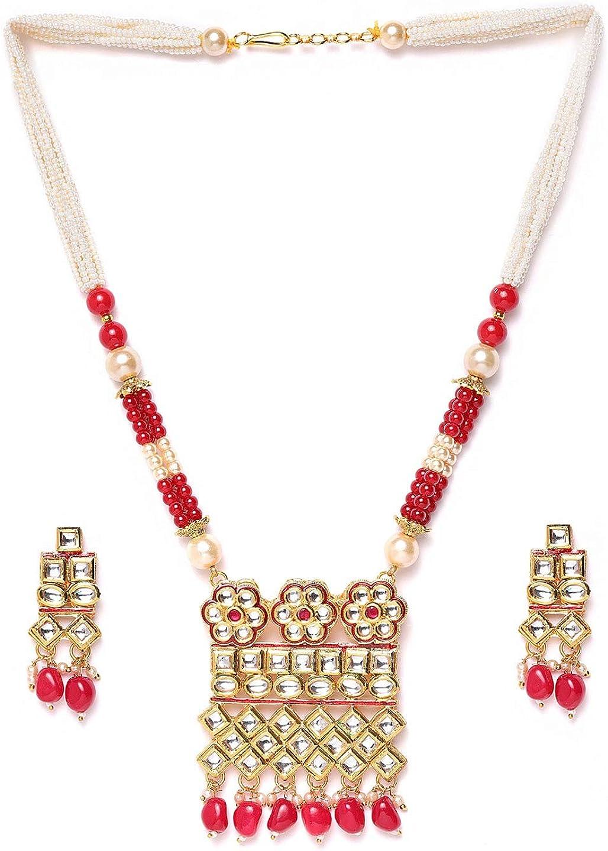 Vishal-Vatika Indian Wedding Faux Pearl Kundan Gold Plated Necklace Pendant Jewelry Set