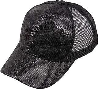 OUOK 2019 Fashion Baseball Caps Women Girl Ponytail Baseball Cap Sequins Shiny Messy Bun Snapback Hat Summer Sun Caps,Black,S