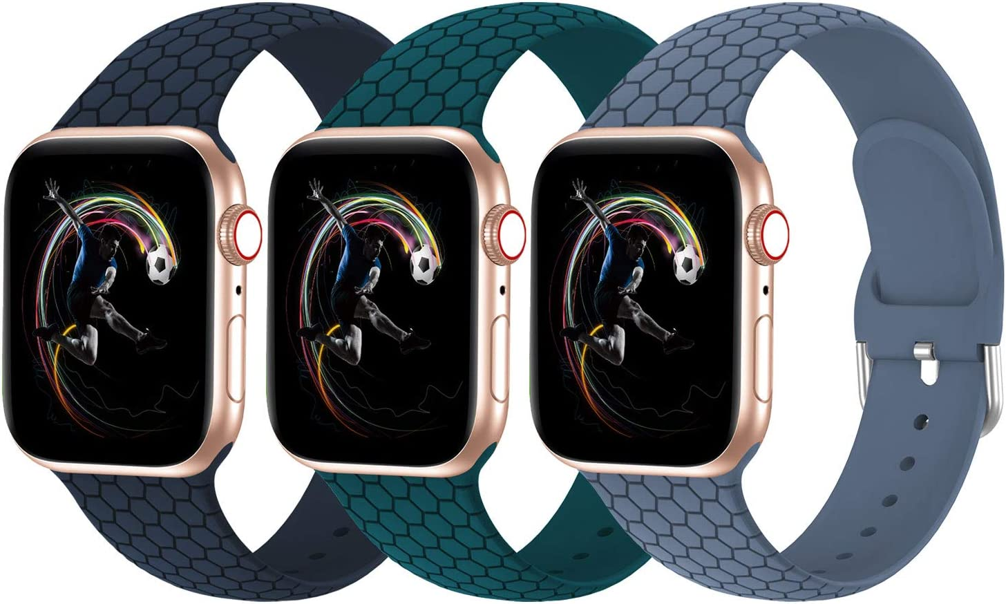 Aopigavi Compatible with Apple Watch iWatch Bands 38MM 40MM 42MM 44MM SE Series 6 Series 5 Womens Men, Soft Silicone Sport Bands Compatible for iWatch SE Series 6 5 4 3 2 1
