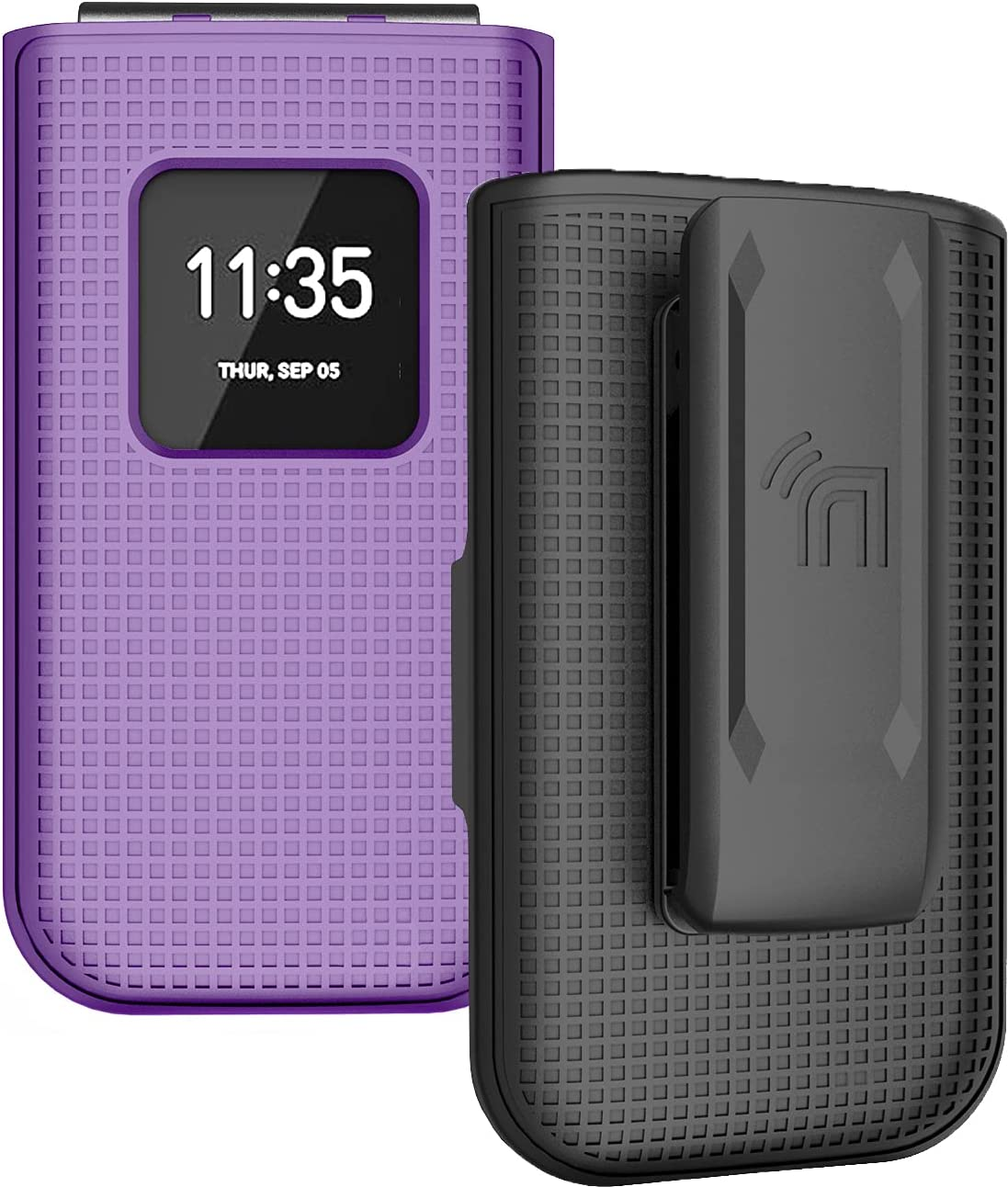 Case with Clip for Nokia 2720 V Flip Phone, Nakedcellphone [Purple] Snap-On Hard Shell Cover with [Rotating/Ratchet] Belt Hip Holster Holder for Verizon TA-1295