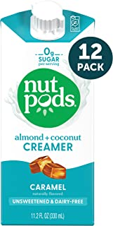 nutpods Caramel, Unsweetened Dairy-Free Liquid Coffee Creamer Made From Almonds and Coconuts (12-pack)