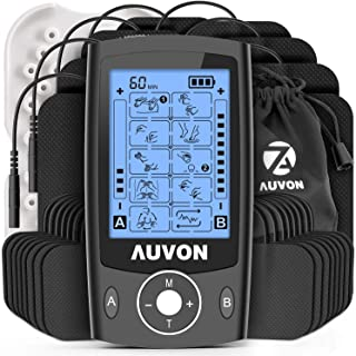 "AUVON Dual Channel TENS Unit Muscle Stimulator (Family Pack), 20 Modes Rechargeable TENS Machine with Huge Pack of 24 Pcs Reusable TENS Unit Electrode Pads (2""x2"" 16pcs, 2""x4"" 8pcs) Black"