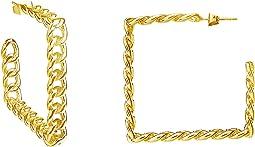 Square Cuban Link Hoops Earrings
