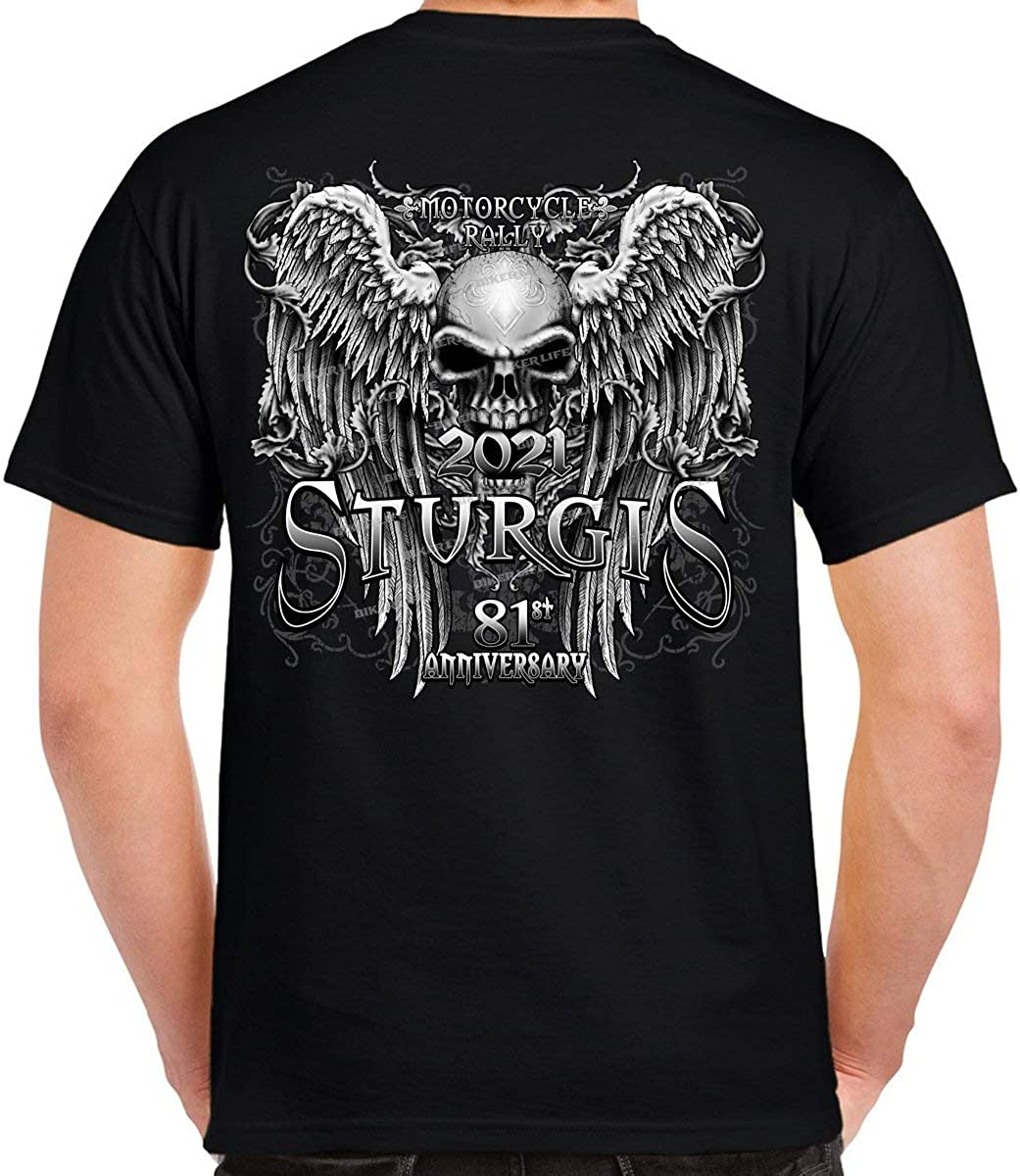 2021 Sturgis Motorcycle Rally Fleur De Lis Granite Skull Wings T-Shirt