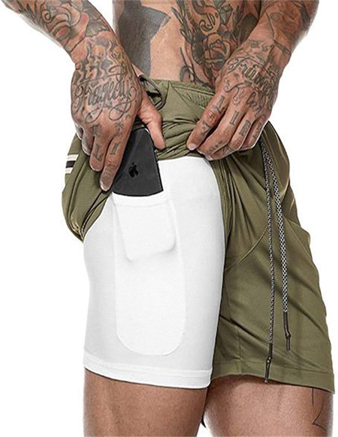 Cicilin Men Workout Gym Running Shorts Training with Inner Compression Quick Dry