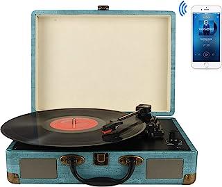 Tocadiscos Bluetooth de 3 velocidades con y Altavoces estéreos incorporados, admite Salida Salida RCA/Aux in/Auriculares