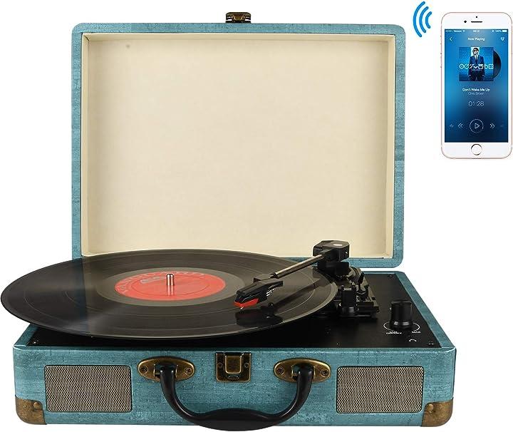 Giradischi vinile, 3 velocità (33 1/3, 45 e 78 giri) stereo portatile giradischi, con altoparlanti incorporati M435