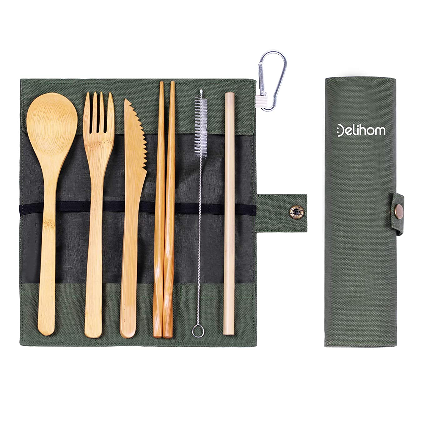 Delihom Bamboo Travel Utensil Set, Eco Friendly Camping Cutlery with Straw, Organic Bamboo Utensils with Cotton Pouch for Camping, Picnic, Office and School Lunch