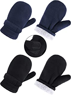 2 Pairs Fleece Mittens Soft Sherpa Gloves Winter Warm Gloves for Boys Girls Cold Weather (Black and Blue, M 8-12 Years Size)