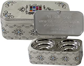 Judaica Nickel Travel Candlestick Shabbat Holiday Gift Hoshen Plate Engraved Hebrew Blessing