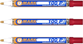 3 Pack - Red Valve Action Metal Paint Marker U-Mark, Made In USA