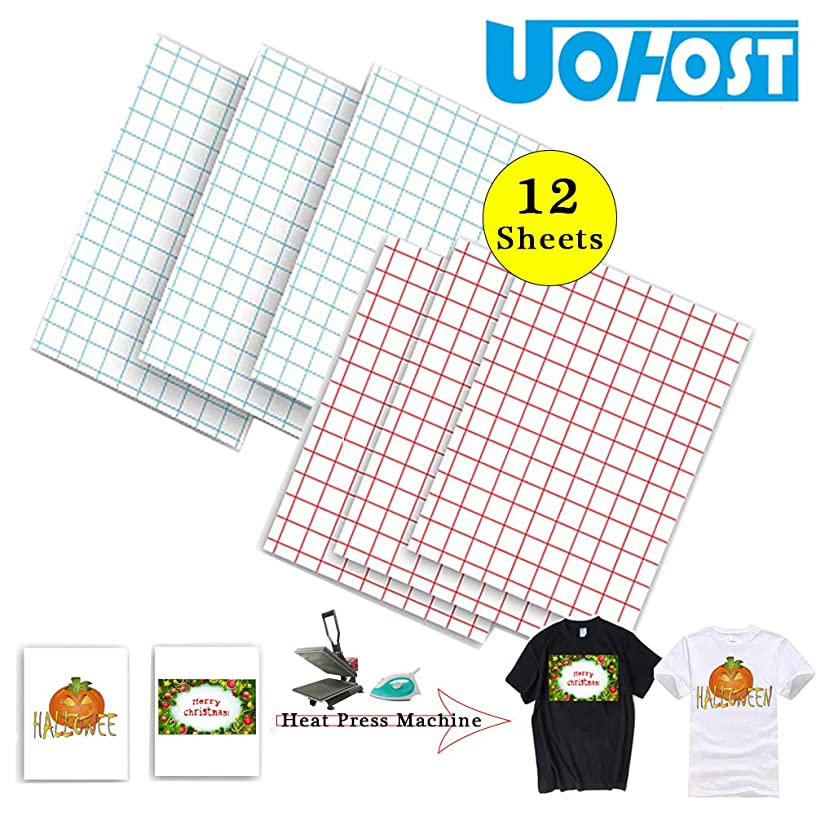 12 Sheets Heat Transfer Paper or Iron on Transfer Paper for T-Shirt Light Fabric Transfers, 11.5
