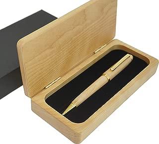 Executive Wood Pen Set, Exotic Wooden Pen Case and Pen Set (Maple Case with Maple Pen)