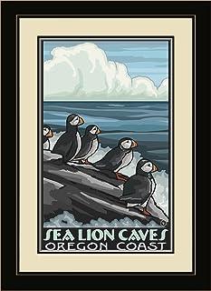 "Northwest Art Mall BA-5652 MFGDM PUF Sea Lion Caves Oregon Coast Puffins Framed Wall Art by Artist Dave Bartholet, 13"" x 16"""
