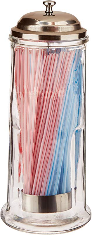 Palais Glassware Glass Straw Dispenser With Chrome Base Cover 11 High