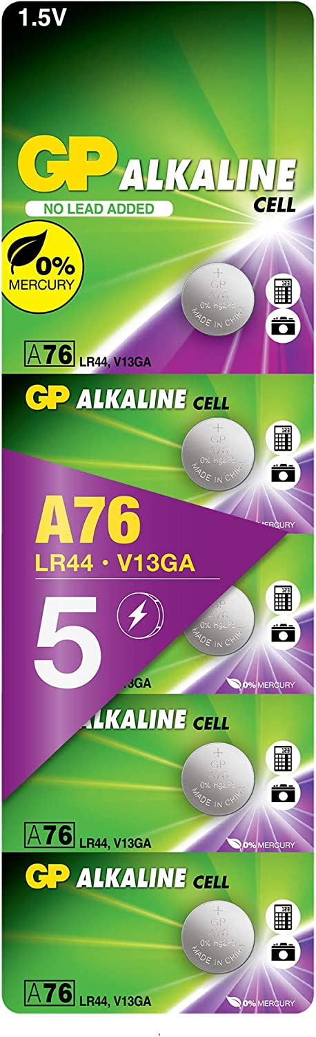 GP LR44//A76//AG13 1.5V Extra Alkaline Button Battery Pack of 20