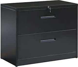 ModernLuxe Metal Lateral File Cabinet Steel Vertical Lockable Filing Cabinet,2 Drawer Black