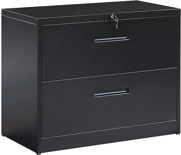 2 个抽屉侧面文件柜带锁可上锁的金属文件柜办公室和家庭黑色