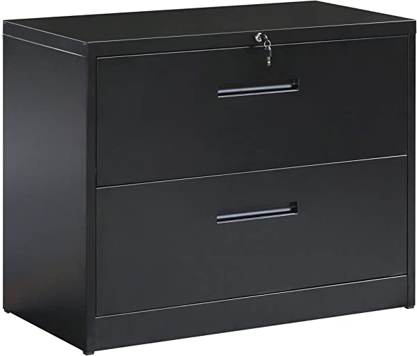 ModernLuxe File Cabinet Black Lockable Heavy Duty Metal Lateral File Cabinet With 2 Drawers