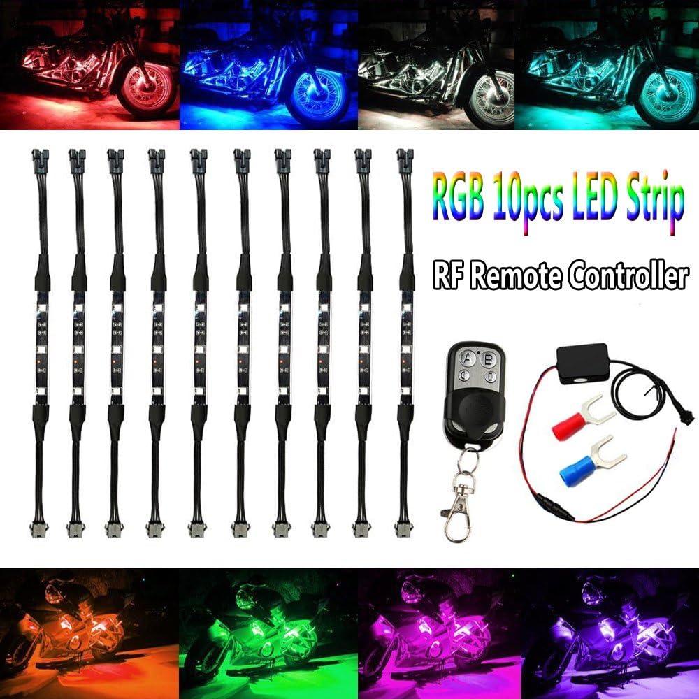 Shinight Motorcycle LED Light Strip Kit, 10Pcs Atmosphere RGB Ne