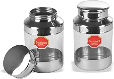 Sumeet Stainless Steel See Through Clear Container Jars Set of 2 Capacity - 600ML, Dia - 6 cm (Each)