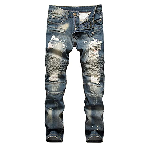 49dc6cc269158f Aiyino Men's Ripped Slim Straight Fit Biker Jeans with Zipper