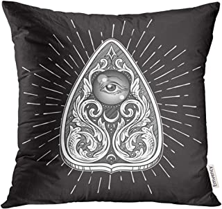 Emvency Throw Pillow Cover Aged Ouija Board Mystifying Oracle Planchette Antique Style Boho Chic Sticker Tattoo Alchemy Decorative Pillow Case Home Decor Square 16x16 Inches Pillowcase