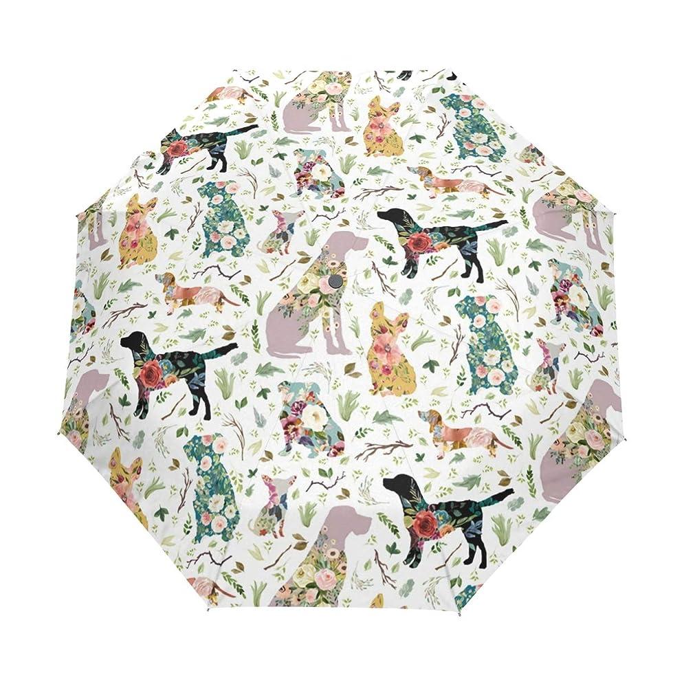 変動するシットコム姉妹折りたたみ傘 犬 花柄 折り畳み傘 手開き 三つ折り 梅雨対策 晴雨兼用 UVカット 耐強風 8本骨 収納ポーチ付き