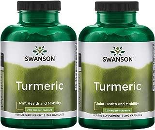 Swanson Turmeric Curcumin Antioxidant Joint Health Cardiovascular Liver Detox Mood Memory Support Supplement Curcuma Longa 720 mg per Cap (1.44 Grams per 2 Cap Serving Size) 240 Capsules (2 Pack)