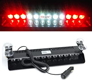 Wecade 12w 12 Leds Car Truck Emergency Strobe Flash Light Windshield Warning Light (Red/White/White/Red)