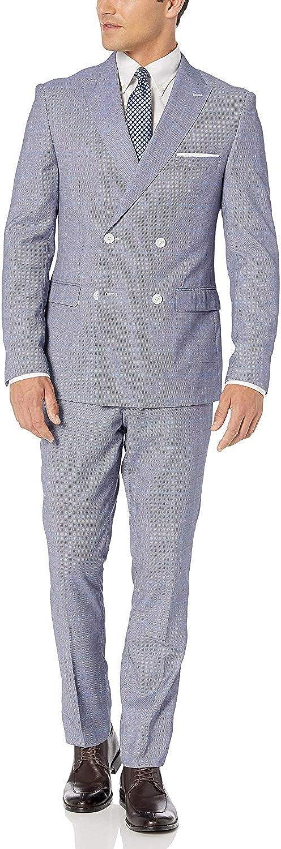Adam Baker Men's Slim Fit Double Breasted 2-Piece (Jacket & Pants) Suit Set