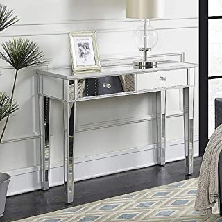 SSLine Mirrored Writing Desk Vanity Dressing Table Desk for Women with 2 Drawers Silver Glass Finish Makeup Table Media Console Table