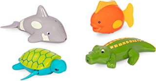 Battat – Wind-Up Bath Toys – 4 pcs – Animal Water Toys for the Tub, Pool – Floating, Swimming – Turtle, Fish, Croc, Whale ...
