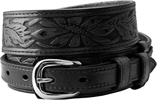 Carson's Western Tooled Genuine Leather Casual Jean Ranger Belt