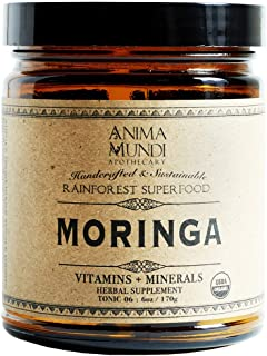 Anima Mundi Moringa Leaf - Organic Rainforest Superfood Powder, Gluten-Free + Non-GMO (6oz / 170g)