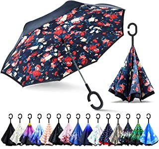 ZOMAKE Double Layer Inverted Cars Reverse Folding Umbrella UV Protection Windproof Large Big Straight Umbrella with C-Shaped Handle Rose