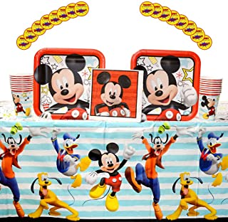 Mickey On the Go Supplies Pack for 16 Guests: Stickers, Dinner Plates, Luncheon Napkins, Table Cover, and Cups