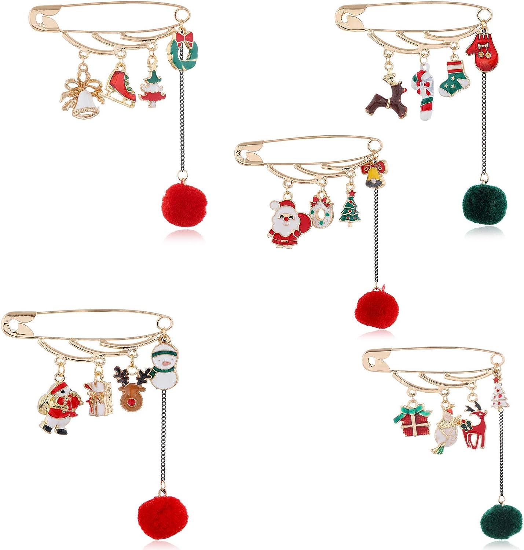 Cute Christmas Tree Decoration Christmas Pin Santa Star Christmas Tree Scarf Safety Pin Brooch Pin Asymmetric Santa Claus Wreath Chain for Women Girls Jewelry
