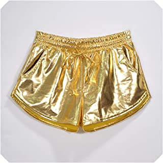 Women Shiny Metallic Hot Shorts Summer Wet Look Elastic Drawstring