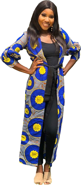Livsom Handmade African Ankara Print Cotton Hand Made Kimono with Black Belt- Size Sm, Md, Lg - 1
