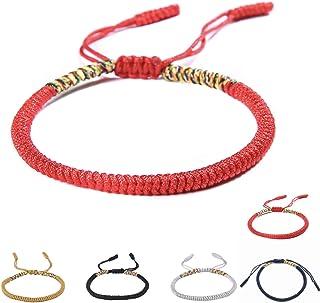 Crea&CO Bracelets Bouddhistes tibétains Porte Bonheur et Chance en Corde à Noeud Coulissant Ajustable pour Homme et Femme
