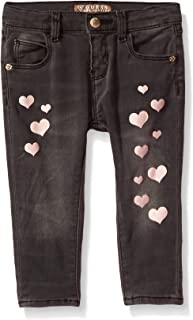 Baby Girls' Heart Skinny Jeans, Grey Cloudy wash, 6/9M