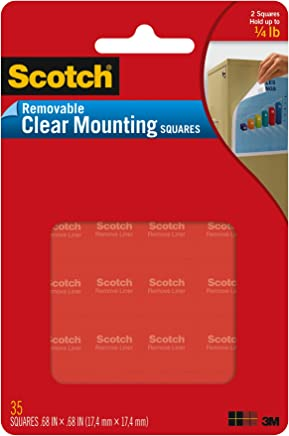 3M 641438620912 Scotch 859 Mounting Squares, Precut, Removable, x 11/16-Inch, Clear, 35 per Pack (MMM859), 11/16 x 11/16